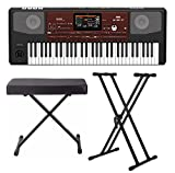 : Korg PA700 61-Key Arranger Keyboard with Knox X-Style Bench and Double X Stand