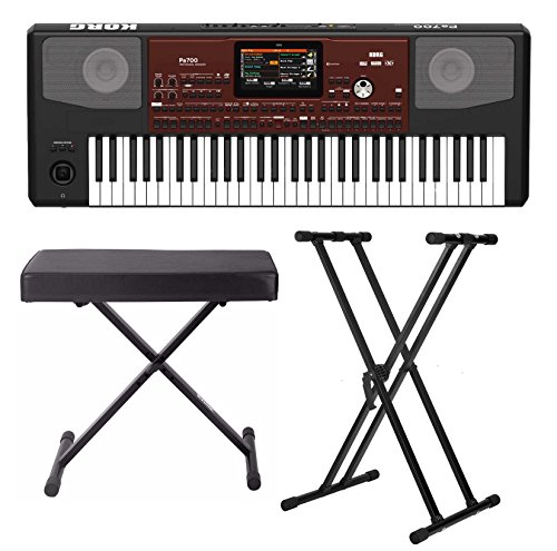 Korg PA700 61-Key Arranger Keyboard with Knox X-Style Bench and
