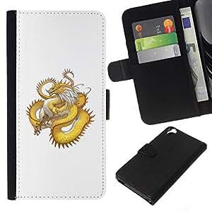 All Phone Most Case / Oferta Especial Cáscara Funda de cuero Monedero Cubierta de proteccion Caso / Wallet Case for HTC Desire 820 // Golden Yellow Dragon Serpent Long Tail
