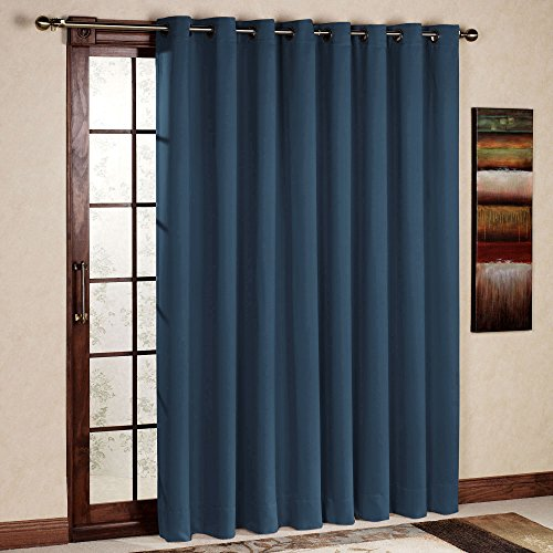 RHF Wide Thermal Blackout Patio door Curtain Panel, Sliding door curtains Antique Bronze Grommet Top 100W by 84L Inches-Navy (Panels Sliding)