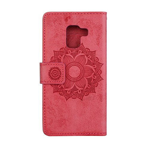 GHC Cases & Covers, Para Samsung Galaxy A5 2018 Caso Mandala Flor de grabación en relieve del soporte del cuero cubierta de la caja ( Color : Brown ) Red