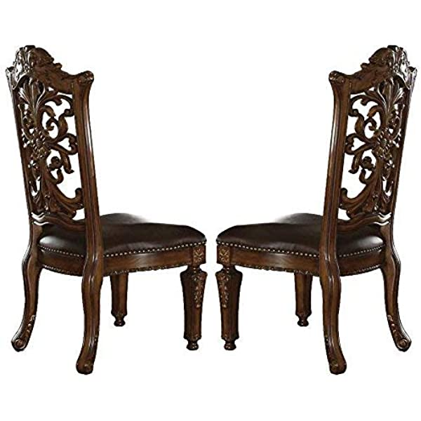 Acme 60003 Vendome Side Chair Cherry Finish Set Of 2 Chairs Amazon Com