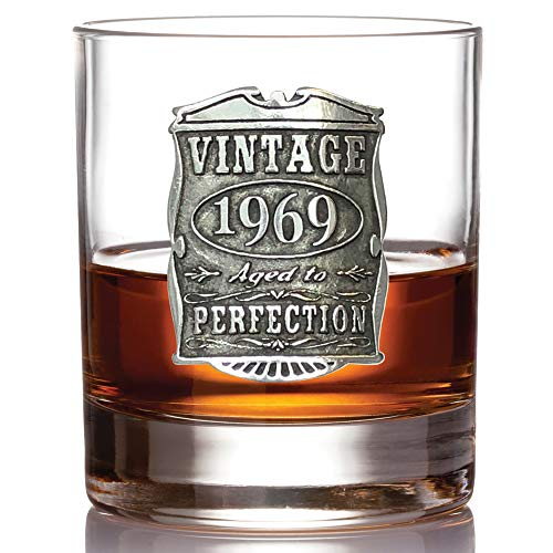English Pewter Company Vintage Years 1969 50th Birthday or Anniversary Old Fashioned Whisky Rocks Glass Tumbler - Unique Gift Idea For Men [VIN003] by English Pewter Company Sheffield, England (Image #1)