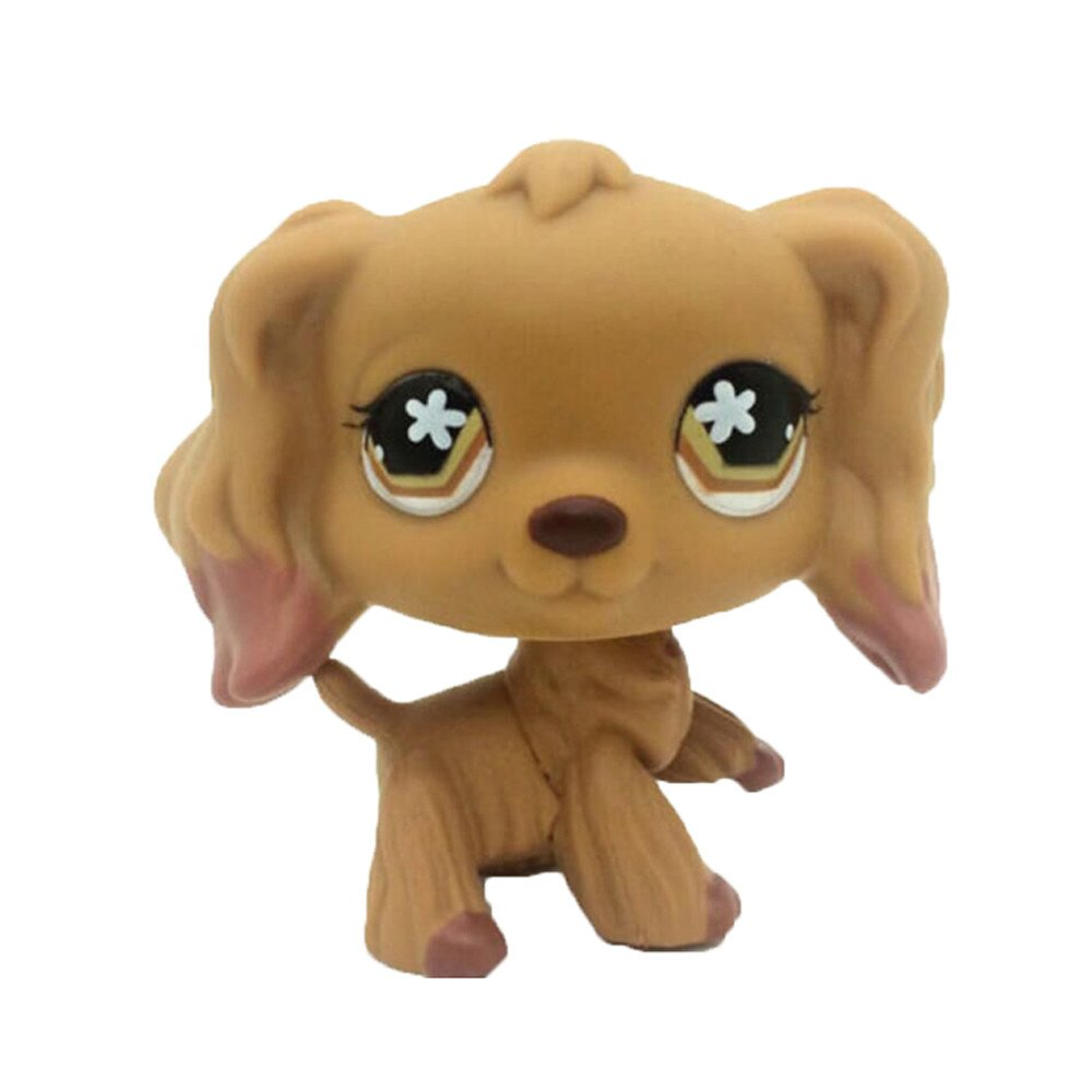 Rare Pet Shop Brown Cocker Spaniel Dog Flower Eyes Animal LPS #716 Puppies Small Kids Toy crossed3_Pet toy store