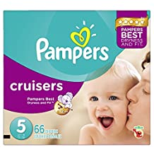 Pampers Cruisers Diapers Size 5, Super Pack, 66 Count (Packaging May Vary)