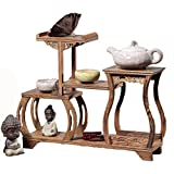 XICHENGSHIDAI Chinese Wooden Curio Shelf Antique-and-Curio Display Stand Keepsakes or Plant Shelving Unit