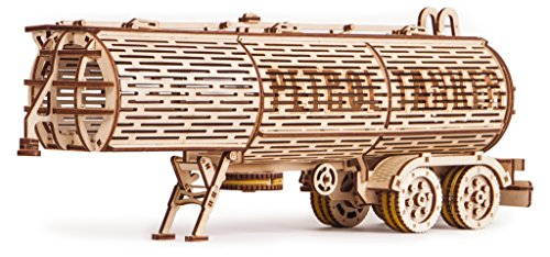 Big Tank Trailer - Wood Trick 3D Mechanical Model Tank Trailer Wooden Puzzle, Assembly Constructor, Brain Teaser, Best DIY Toy, IQ Game for Teens and Adults