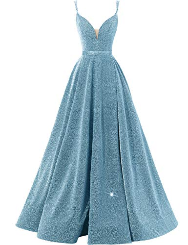 Women's Glittery Spaghetti V-Neck Prom Dresses Long Side Split Formal Evening Gowns Ice Blue (Ball Blue Gown Ice)