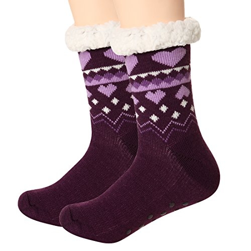 Fair Isle Heart (Slipper Socks Women Fleece Non Slip Knit Crew leg Warmer Thermal Winter Purple)