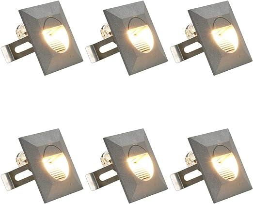 Festnight 6 Unidades Lámparas LED de Pared de Jardín Lámpara para Exteriores, Lluminación Descendiente Cuadrada Plateada 5W: Amazon.es: Hogar