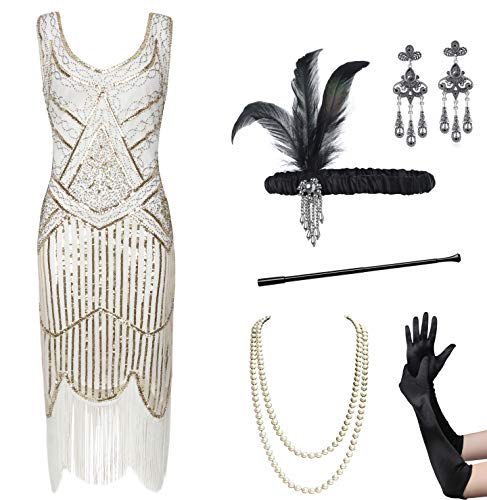 Coucoland Womens 1920s Flapper Sequin Beads Dress with Roaring 20s Gatsby Accessories Set for Party (White & Gold, M) ()