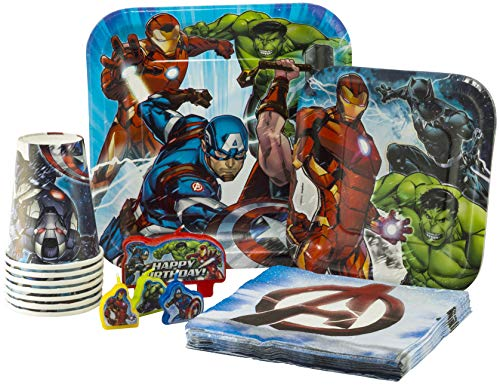 Marvel Epic Avengers Birthday Pack! Disposable Paper Plates, Napkins, Cups & Candles Set for 15 (With free extras)