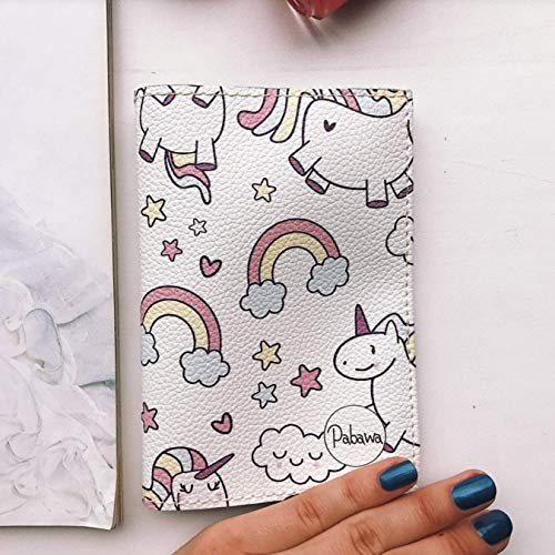 Unicorns and stars passport holder for kids eco leather cover gift ideas handmade