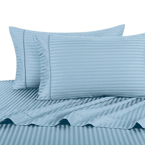 Ultra Soft & Exquisitely Smooth Genuine 100% Plush Cotton 800 TC Sheet Set by Pure Linens, Lavish Sateen Stripes, 4 Piece Full Size Deep Pocket Sheet Set, Blue - Striped Blue 800 Thread