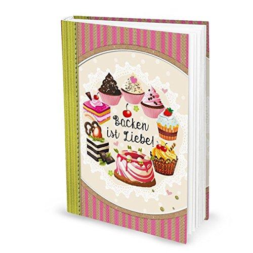 Livre de recettes'Backen ist Liebe' rose (couverture rigide A4, face blanche) : pour recettes de gâteaux, recettes de biscuits, etc.