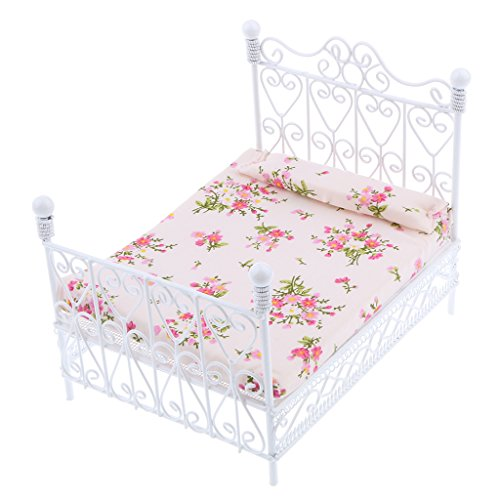 SODIAL 1: 12 Dollhouse Miniature Bedroom Furniture Metal Bed With Mattress Accessory Toy White