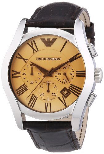 Emporio Armani Chronograph Amber Dial Brown Leather Mens Watch AR1634