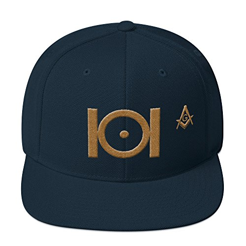Masonic Snapback Hat 3D Puff Embroidery Old Gold ()