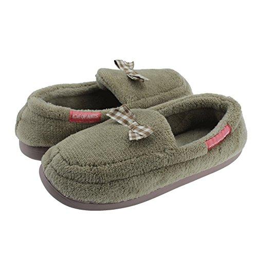 SENFI Women Coral Fleece Slipper Soft Plush Slip On House Flat Moccasin 02brown ZNsxfsHacT