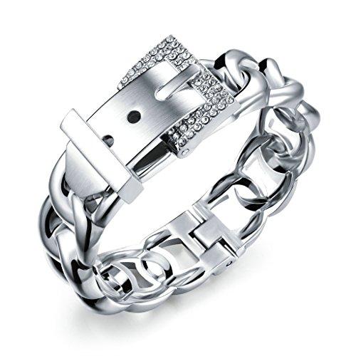 MoAndy Womens Bracelets Cuff Bangle Curb Chain CZ Belt Buckle White 6.7 Inch