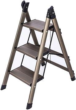 M-Y-S Escalera de 3 peldaños, taburete plegable ligero de aluminio con escalera antideslizante y de pedal ancho for fotografía, hogar y pintura (Color : Champagne): Amazon.es: Bricolaje y herramientas