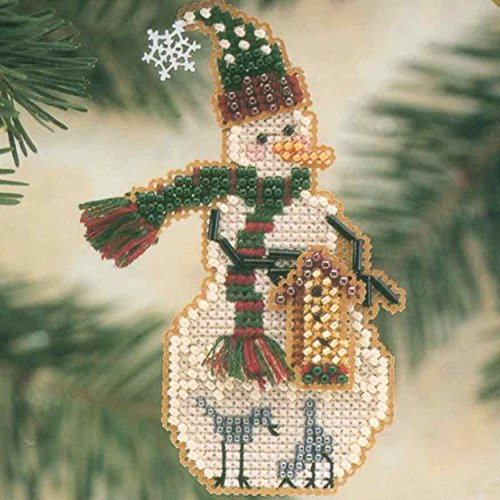 Mill Birdhouse - Birdhouse Snow Charmer Beaded Counted Cross Stitch Christmas Ornament Snowman Kit Mill Hill 2001 Snow Charmers MHSC25
