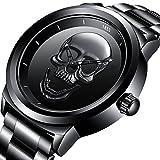 JC-LIGE Cool Punk Relogio 76 - Reloj de Pulsera para Hombre, Diseño de Calavera 3D, Color Dorado y Negro