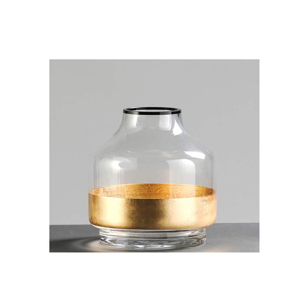 金箔ガラス花瓶透明花瓶家の装飾/水耕栽培植物の装飾品 SHWSM (サイズ さいず : 18.3cm×17.3cm) B07RWB28GR  18.3cm×17.3cm