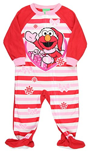 Sesame Street AME Little Girls' Elmo Christmas Blanket Sleeper Pajamas (4T) Red]()