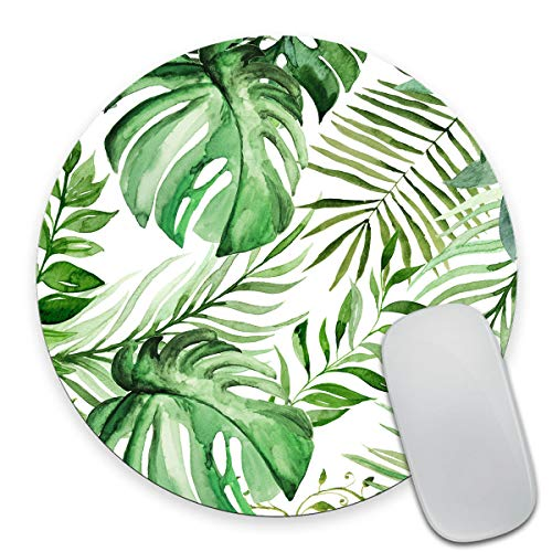 Smooffly Wild Leaf Mouse pad, Round Mousepad, Leaves Mouse pad, Office Supplies, Gift for Friend, Desk Accessories (Mouse Friends Pad)
