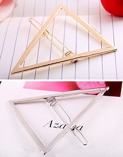BeautyMood 6pcs Minimalist Dainty Gold Silver Hollow Geometric Metal Hairpin Hair Clip ClampsCircle Triangle And Moon