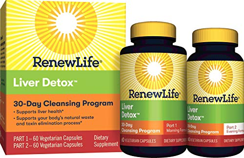 Renew Life Adult Cleanse – Liver Detox – 2-Part, 30-Day Program – Gluten Dairy Free – 120 Vegetarian Capsules