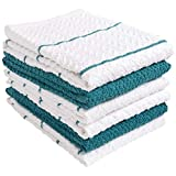 KAF Home 100% Cotton Chevron Terry Towels | Set of 6 | Super Plush and Absorbent Terry Towels | A Great Value and Perfect for Kitchen and Household Messes - Teal