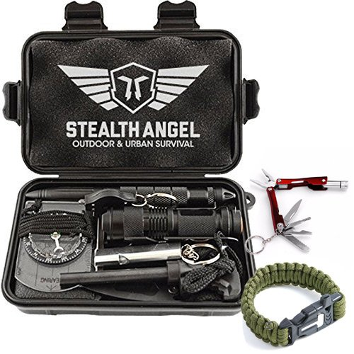 Stealth Angel Compact 2.0 10-in-1 Survival Kit with Paracord Bracelet, Multi-Purpose EDC Outdoor Emergency Tools and Evereyday Carry Gear, Official Stealth Angel Survival Kit (1 Pack)