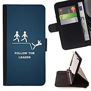 DEVIL CASE - FOR Sony Xperia M2 - Follow The Leader Funny - Style PU Leather Case Wallet Flip Stand Flap Closure Cover