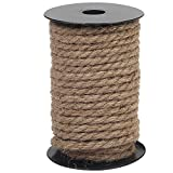 Vivifying 50 Feet 8mm Jute Rope, Natural Heavy Duty Twine for Crafts, Cat Scratch Post, Bundling