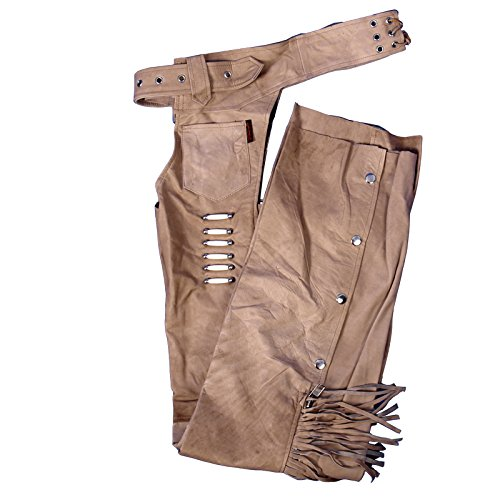 Hot Leathers Women's Leather Chaps with Bone and Fringe (Brown, Large)
