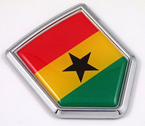 Ghana Flag Chrome Emblem Car Decal Sticker Bike Crest Badge