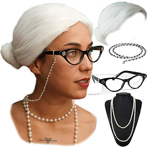Vibe Old Lady Wig Cosplay Set, White Hair Granny Wig with Pearl Necklace, Glasses, Glass Chain Accessories, 5 Pieces Total ... (White Bun) ()