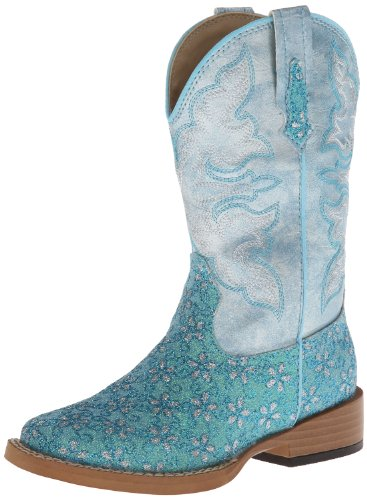 Roper Square Toe Glitter Floral Western Boot (Toddler/Little Kid),Turquoise,13 M US Little ()