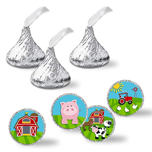 Barnyard Bash Barn And Farm Themed Birthday Party Kiss Sticker Labels, 300 Party Circle Sticker sized 0.75
