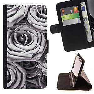 Momo Phone Case / Flip Funda de Cuero Case Cover - Rosa Blanca Negro minimalista Spring Love - Samsung Galaxy E5 E500