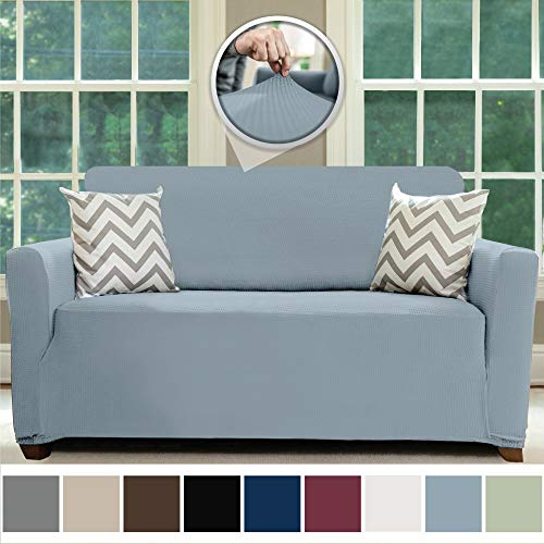 Sofa Shield Original Fitted 1 Piece Loveseat Slipcover, Soft, Stretch, Seat Width Up to 54 Inch Furniture Protector, Washable Covers for Loveseats, Spandex Fit Slip Cover, Dogs, Love Seat, Denim Blue