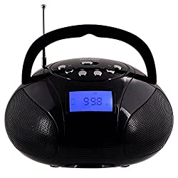 August SE20 – Mini Bluetooth MP3 Stereo System – Portable Radio with Powerful Bluetooth Speaker- FM Alarm Clock Radio with Card reader, USB and AUX in (Micro USB) - 2 x 3W Stereo Speakers(Black)