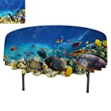 SATVSHOP Round tablecloth-50Inch-Ocean Fairy Underwater with Fish and Source of Oxygen Coral Aquatic Liquid Culture Scenery