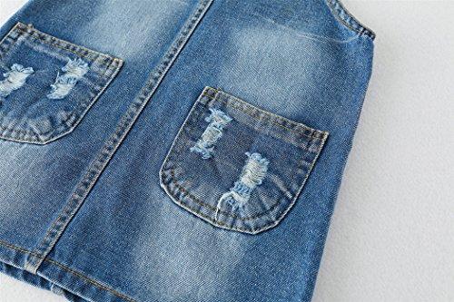Kidscool Girls 5 Round Ripped Bibs Jeans Overalls Dress,Light Blue,6-7 Years by Kidscool (Image #3)