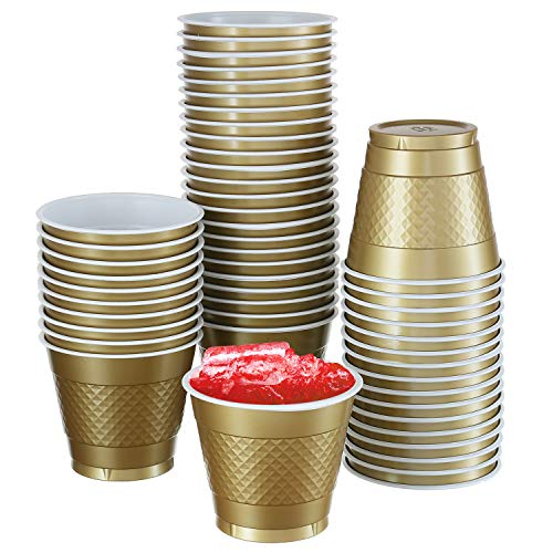 (50 Pack | 9 -Oz Disposable Cups | Big Party Plastic Cup Perfect For Birthday Party's Tableware| 9-Ounce, Gold)