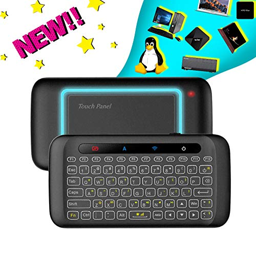 H20 Wireless Mini-Keyboard Two-Sided Touch Backlit Keyboard H20 with Infrared Learning Function, 2.4GHz Rechargeable Mouse for Android TV Box, PC, Computer, Media Player ()