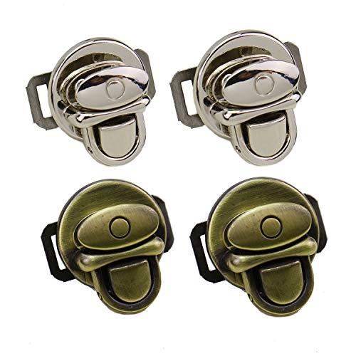 Monrocco 4 pcs Metal Duck Tongue Twist Lock Clasp Purse Twist Lock for DIY Handbag Purse Hardware Closure (Twist Lock Handbag)