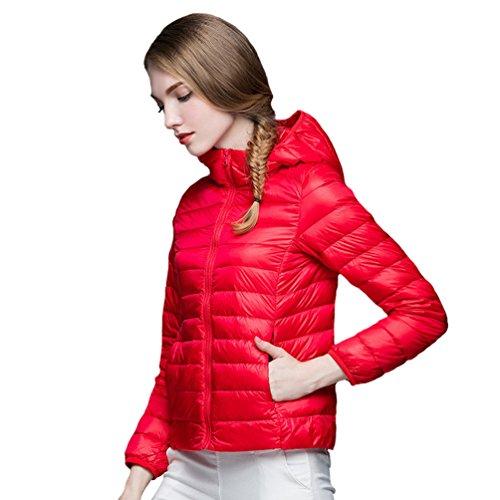 Corta Autunno Giubbotto Ultraleggeri Inverno Piumino Rosso Giacche Con Di Cappotto E Trapuntato Cappuccio Donna Giù Slim Zkoo 5EUqO1